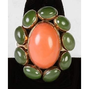 14K Gold, Coral & Jade Ring