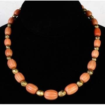 14K Gold & Graduated Coral Bead Necklace