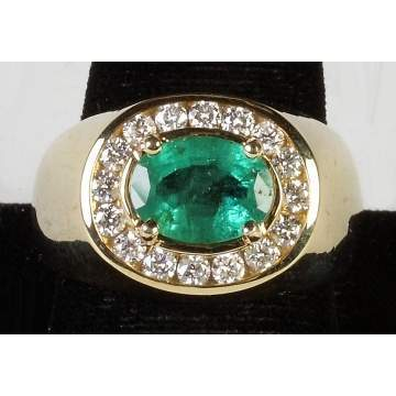 14K Gold, Emerald & Diamond Men's Ring