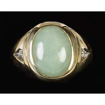 14K Gold & Jadeite Men's Ring