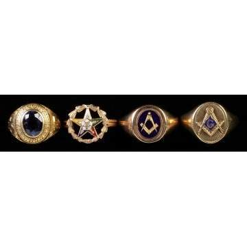 4 Vintage Gold Rings incl. Masonic