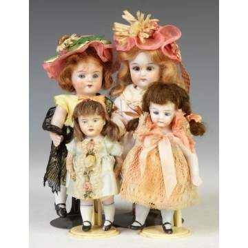 Group of German Miniature Bisque Dolls