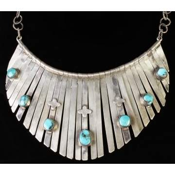 Vintage Native American Silver & Turquoise Necklace