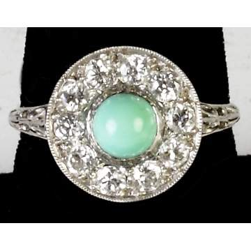 Vintage Turquoise & Diamond Ring