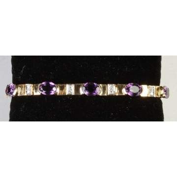 14k Gold Bracelet w/Amethyst & Diamonds