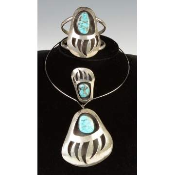 Vintage Native American Silver & Turquoise Bear claw Necklace, Bracelet & Ring