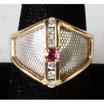 14K Two Tone Gold, Ruby & Diamond Ring
