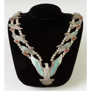 Vintage Native American Silver, Turquoise & Coral Necklace & Matching Ring