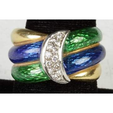 18K Two Tone Gold Ring w/Diamonds & Enamel Work