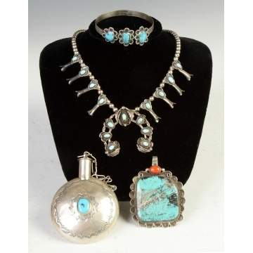 Four Pieces of Vintage Native American Silver & Turquoise Jewelry