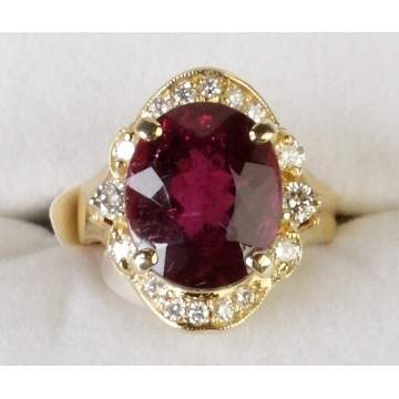 14K Gold Rubellite Tourmaline & Diamond Ring
