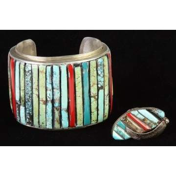 Vintage Native American Silver, Turquoise & Coral Bracelet & Ring