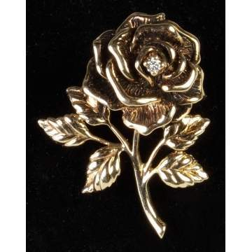 Tiffany 14K Gold Flower Brooch