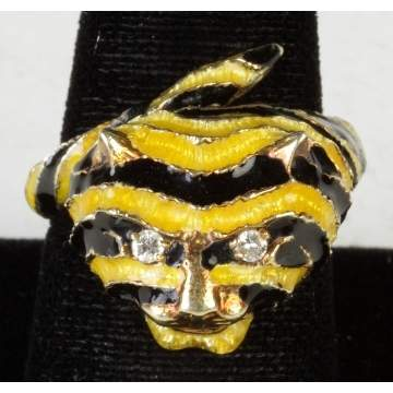 14K Gold Ring w/Enameled Tiger  & Diamond Eyes