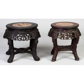 Two Chinese Carved Hardwood Stand w/Marble Tops