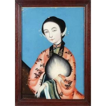 Reverse Painting on Glass of Geisha Girl