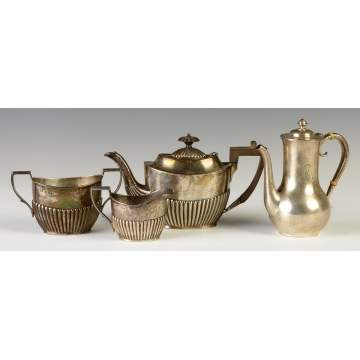 3 Piece English Silver Tea Set; Gorham Sterling Teapot.