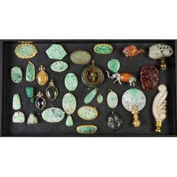 Group Jadeite & Hard stone Jewelry and Jade Finials