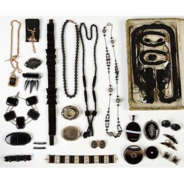 Group Victorian Mourning Jewelry, etc.