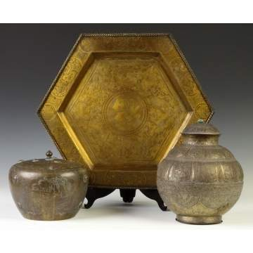 Brass Jars & Tray