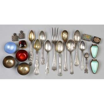 Group of Misc. Silver Spoons, Enameled Salt & Pepper Shakers, etc