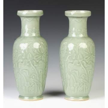 Pair of Chinese Celadon Vases w/Relief Decoration