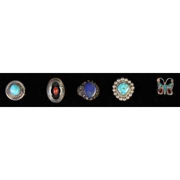 Five Various Silver & Turquoise Rings
