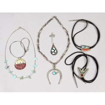 Six Various Silver & Turquoise Necklaces & Boleros