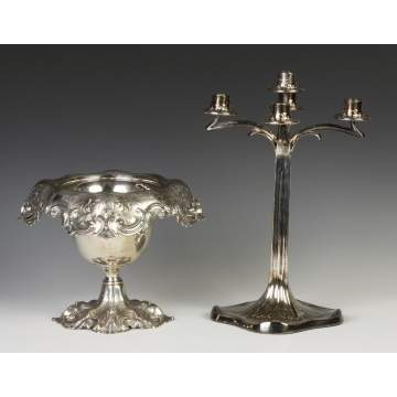 Sterling Silver Compote & Silver Plate Candelabra