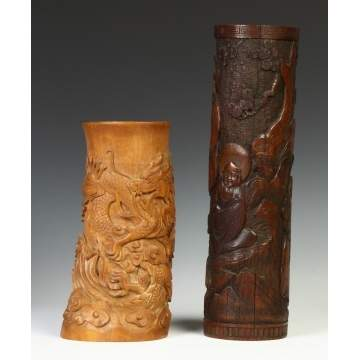 Two Carved Bamboo Vases