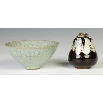 Celadon Bowl w/Chinese Wax Seal tog. w/Chinese Pottery Vase