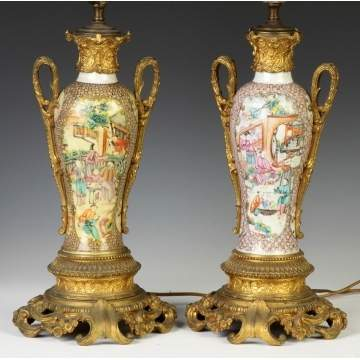 Pair of Chinese Porcelain Lamp Bases w/Bronze Mounts