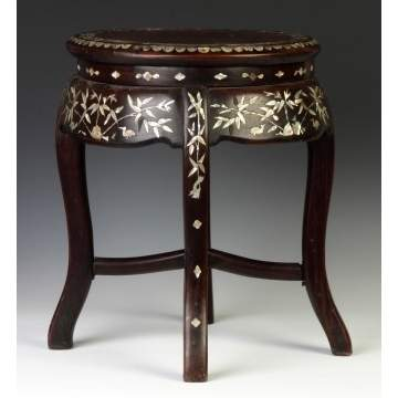 Chinese Hardwood Stand w/Mother of Pearl Inlay