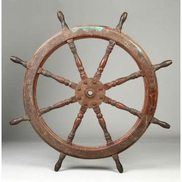 Mahogany & Metal Ship's Wheel