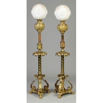 Two Similar Victorian Brass Floor Lamps
