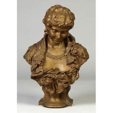 Spelter Metal bust of Young Lady