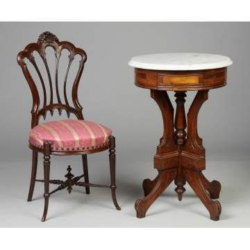 Victorian Chair & Marble Top Stand