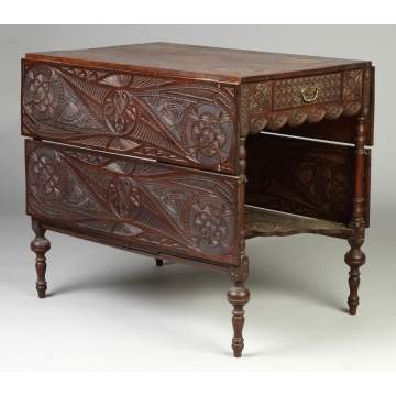 Whimsically Carved Drop Leaf Table w/Drawers