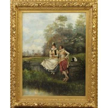Victorian Painting of Courting Couple in Landscape