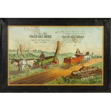 Frazer Axle Grease Self Framed Lithographed Tin Sign