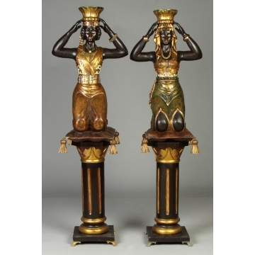 Two Carved, Gilded & Painted Blackamoors on Stand