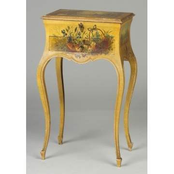 French Hand Painted 2-Drawer Jewelry Stand
