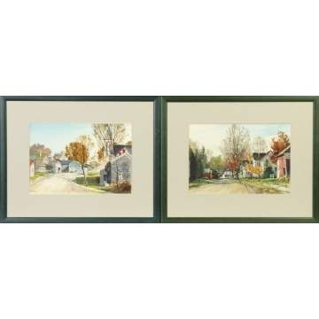 R.W. Ware (Upstate New York) Two Fall street scenes