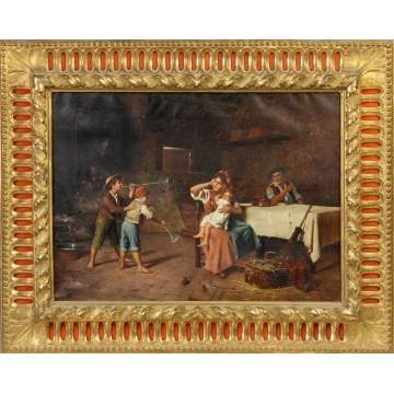 Attr. To E. Deblaas, Italian family scene