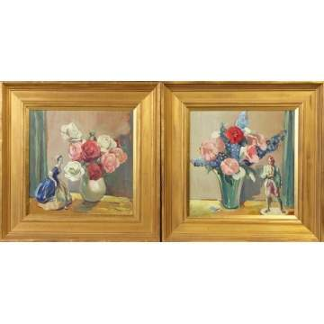 Alexander Oscar Levy (American, 1881-1947) Pair of floral still life's w/figures