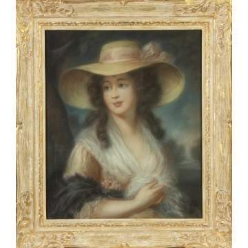 19th cent. Pastel of young lady w/hat