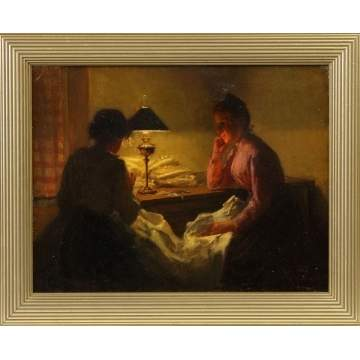 Marcel Rieder (French, 1852-) Women sewing