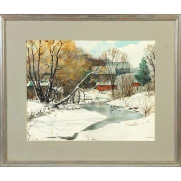 R.W. Ware (Upstate New York) Winter landscape w/barns
