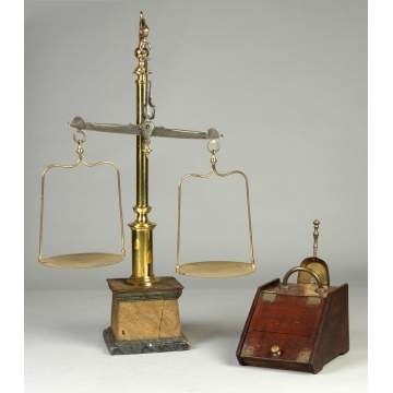 Basillo Perez Valladolio Cast Brass & Wood Apothecary Scales together with Oak & Brass Coal Scuddle