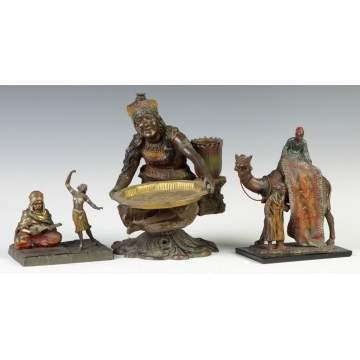 Three Patinated Metal Middle Eastern Figures
